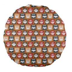 Colorful Whimsical Owl Pattern Large 18  Premium Flano Round Cushions