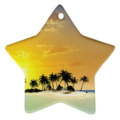 Beautiful Island In The Sunset Ornament (Star)