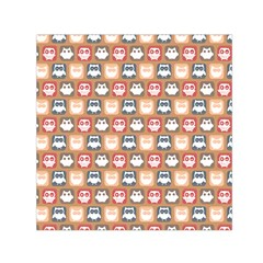 Colorful Whimsical Owl Pattern Small Satin Scarf (Square)