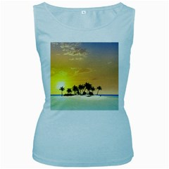 Beautiful Island In The Sunset Women s Baby Blue Tank Tops