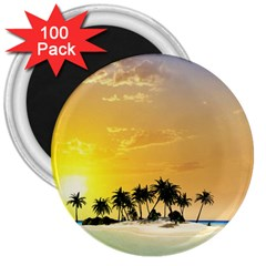 Beautiful Island In The Sunset 3  Magnets (100 pack)