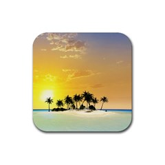 Beautiful Island In The Sunset Rubber Square Coaster (4 pack)