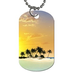 Beautiful Island In The Sunset Dog Tag (One Side)