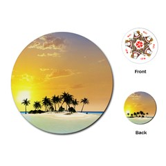 Beautiful Island In The Sunset Playing Cards (Round)