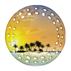 Beautiful Island In The Sunset Round Filigree Ornament (2side)