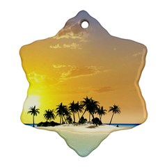 Beautiful Island In The Sunset Snowflake Ornament (2-Side)