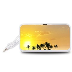 Beautiful Island In The Sunset Portable Speaker (White)