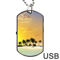 Beautiful Island In The Sunset Dog Tag Usb Flash (one Side)