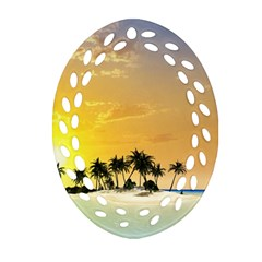 Beautiful Island In The Sunset Oval Filigree Ornament (2 Side)