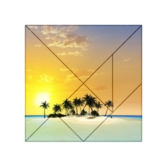 Beautiful Island In The Sunset Acrylic Tangram Puzzle (4  X 4 )