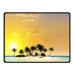 Beautiful Island In The Sunset Double Sided Fleece Blanket (Small)