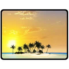 Beautiful Island In The Sunset Double Sided Fleece Blanket (large)