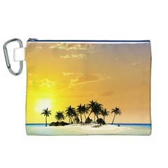 Beautiful Island In The Sunset Canvas Cosmetic Bag (XL)