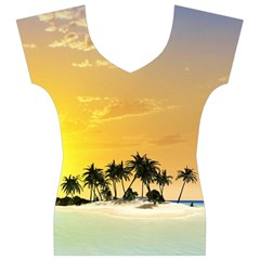 Beautiful Island In The Sunset Women s V-Neck Cap Sleeve Top