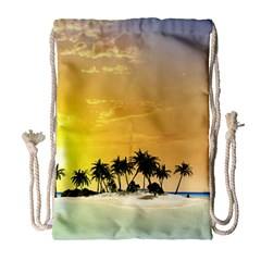 Beautiful Island In The Sunset Drawstring Bag (Large)