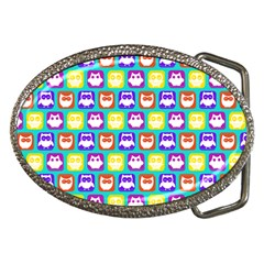Colorful Whimsical Owl Pattern Belt Buckles