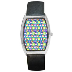 Colorful Whimsical Owl Pattern Barrel Metal Watches