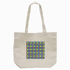Colorful Whimsical Owl Pattern Tote Bag (Cream)