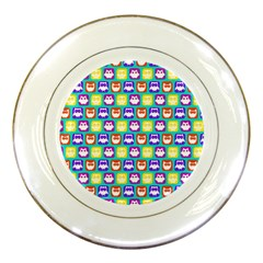 Colorful Whimsical Owl Pattern Porcelain Plates