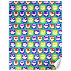 Colorful Whimsical Owl Pattern Canvas 12  X 16
