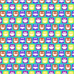 Colorful Whimsical Owl Pattern Magic Photo Cubes
