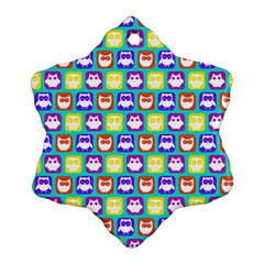 Colorful Whimsical Owl Pattern Ornament (Snowflake)