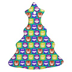 Colorful Whimsical Owl Pattern Christmas Tree Ornament (2 Sides)