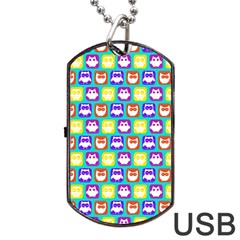 Colorful Whimsical Owl Pattern Dog Tag Usb Flash (two Sides)