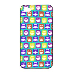 Colorful Whimsical Owl Pattern Apple Iphone 4/4s Seamless Case (black)