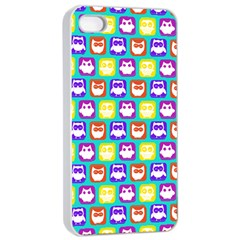 Colorful Whimsical Owl Pattern Apple iPhone 4/4s Seamless Case (White)