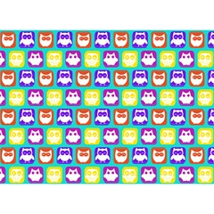 Colorful Whimsical Owl Pattern Birthday Cake 3D Greeting Card (7x5)