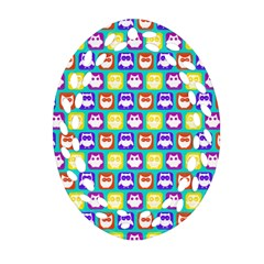 Colorful Whimsical Owl Pattern Oval Filigree Ornament (2 Side)