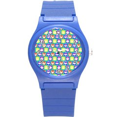 Colorful Whimsical Owl Pattern Round Plastic Sport Watch (S)