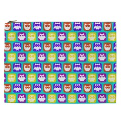 Colorful Whimsical Owl Pattern Cosmetic Bag (XXL)