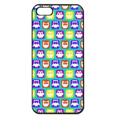 Colorful Whimsical Owl Pattern Apple iPhone 5 Seamless Case (Black)