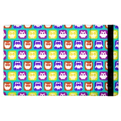 Colorful Whimsical Owl Pattern Apple iPad 3/4 Flip Case