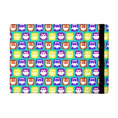 Colorful Whimsical Owl Pattern Apple iPad Mini Flip Case