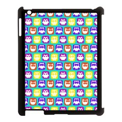 Colorful Whimsical Owl Pattern Apple iPad 3/4 Case (Black)