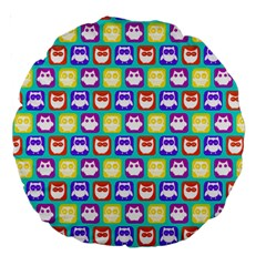 Colorful Whimsical Owl Pattern Large 18  Premium Round Cushions