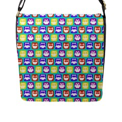 Colorful Whimsical Owl Pattern Flap Messenger Bag (L)