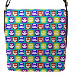 Colorful Whimsical Owl Pattern Flap Messenger Bag (S)