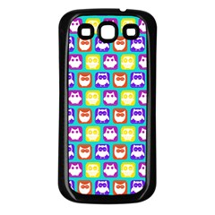 Colorful Whimsical Owl Pattern Samsung Galaxy S3 Back Case (Black)
