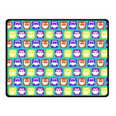 Colorful Whimsical Owl Pattern Double Sided Fleece Blanket (Small)