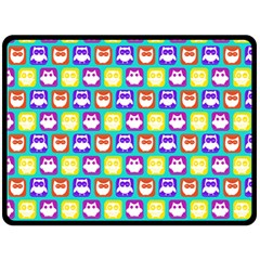Colorful Whimsical Owl Pattern Double Sided Fleece Blanket (large)