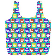 Colorful Whimsical Owl Pattern Full Print Recycle Bags (L)