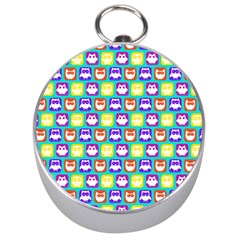 Colorful Whimsical Owl Pattern Silver Compasses