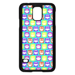 Colorful Whimsical Owl Pattern Samsung Galaxy S5 Case (Black)