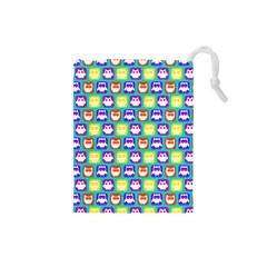 Colorful Whimsical Owl Pattern Drawstring Pouches (small)