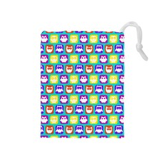 Colorful Whimsical Owl Pattern Drawstring Pouches (Medium)