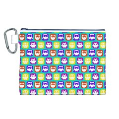 Colorful Whimsical Owl Pattern Canvas Cosmetic Bag (L)